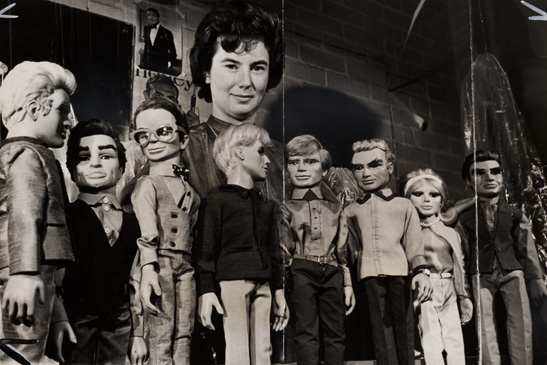 A photograph of the cast of television puppet series Thunderbirds taken at AP Film Studios in Slough, 1965, National Media Museum Collection