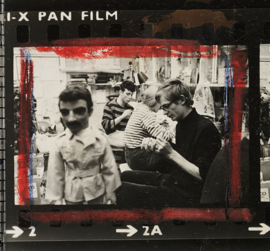 A frame from a contact sheet showing television puppet series Thunderbirds in production, National Media Museum Collection