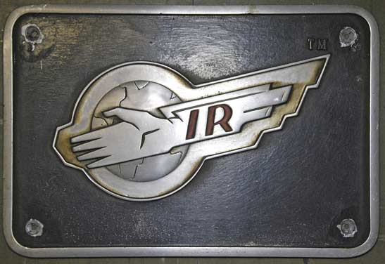 Locomotive badge plate displaying the Thunderbirds International Rescue logo. National Railway Museum, York. ThunderbirdsTM and © ITC Entertainment Group Limited 1964, 1999 and 2015. Licensed by ITV Ventures Limited. All rights reserved.