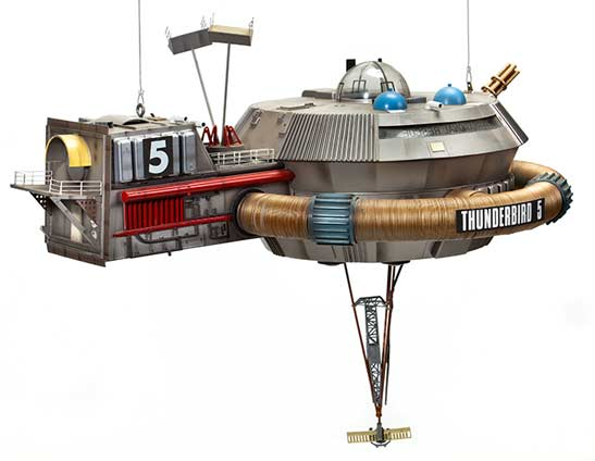 Scale model of Thunderbird 5 space station, Martin Bower, 1991. Museum of Science and Industry, Manchester.