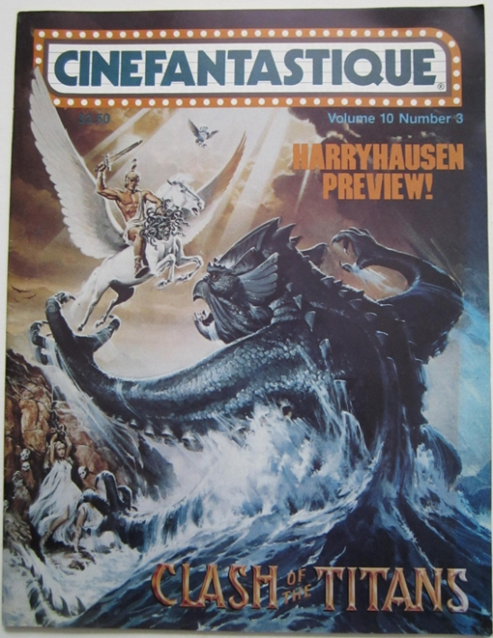 An issue of Cinefantastique magazine vol.10 #3 with a Clash of the Titans cover © The Ray and Diana Harryhausen Foundation