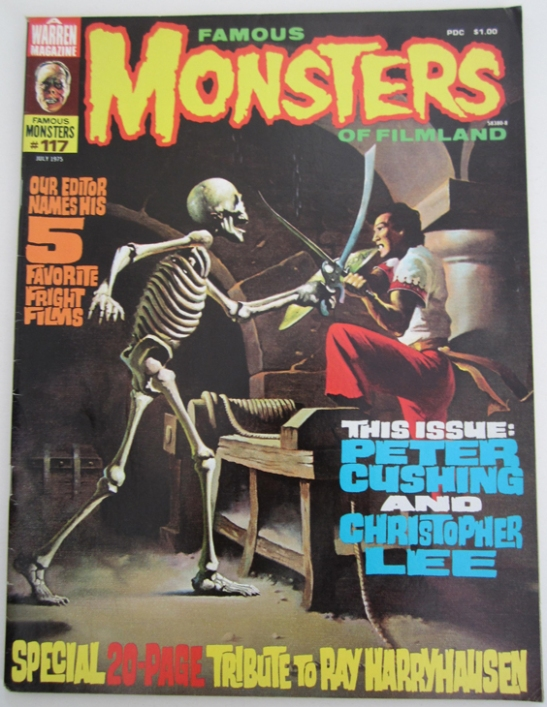 An issue of Famous Monsters of Filmland #117 with a 7th Voyage of Sinbad cover © The Ray and Diana Harryhausen Foundation