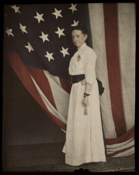 Self portrait with American flag, Helen Messinger Murdoch, The Royal Photographic Society Collection, National Media Museum / SSPL