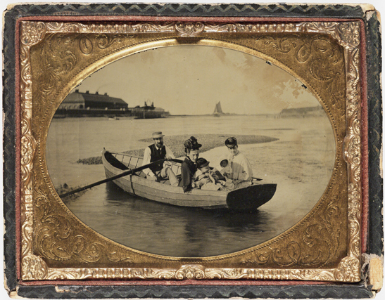 Family in a boat, c. 1865, National Media Museum Collection
