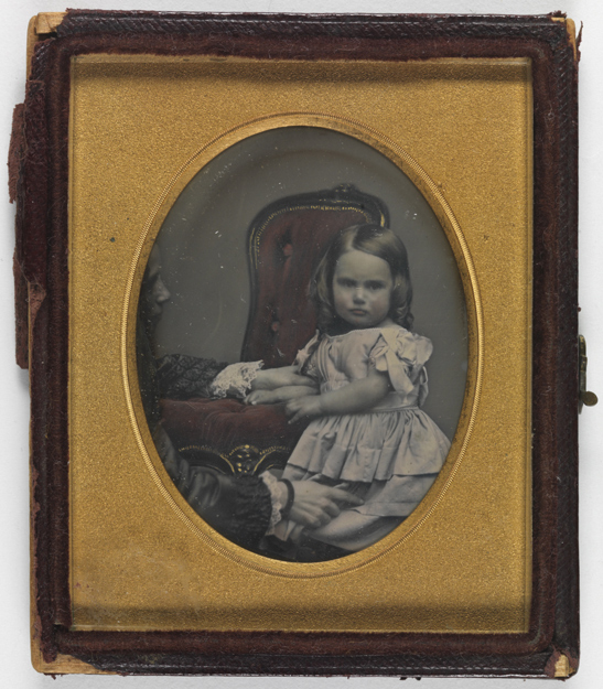 Portrait of a young girl being held still by a woman, c. 1850, Kodak Collection, National Media Musuem