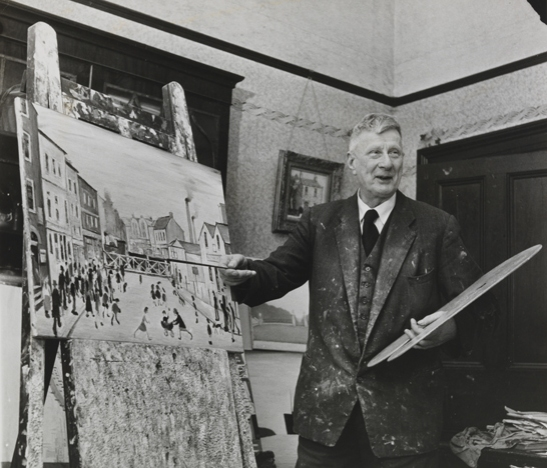 L. S. Lowry in his studio at home, 27 February 1961, Roy Spencer, Daily Herald Archive, National Media Museum Collection / SSPL