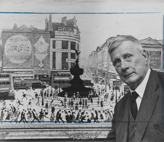 L. S. Lowry with his painting 'Piccadilly Circus', 11 October 1961, D. Eatwell, Daily Herald Archive, National Media Museum Collection / SSPL