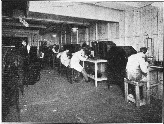 The first commercial Televisors in the making at the Baird factory in Covent Garden, London, 1928.  (Television magazine, September 1928)