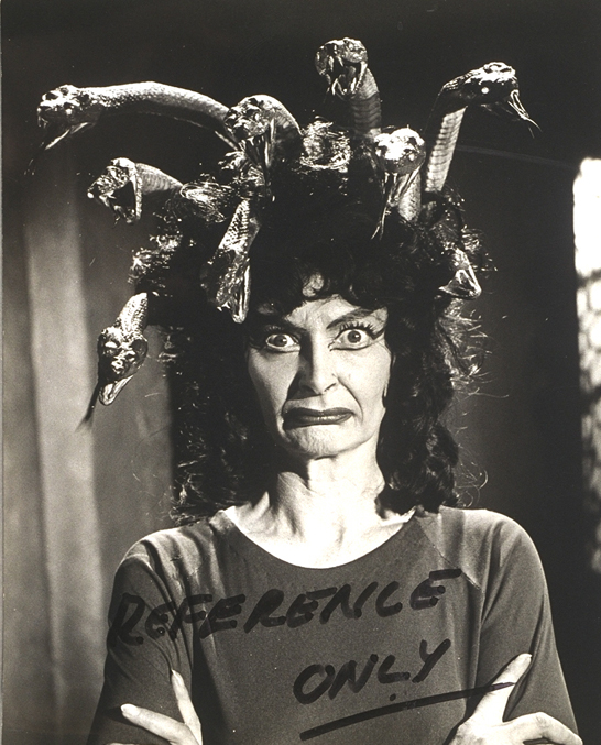 Reference print of Prudence Hyman made-up as the Gorgon, 1964, National Media Museum, Bradford / SSPL, courtesy of the Roy Ashton estate