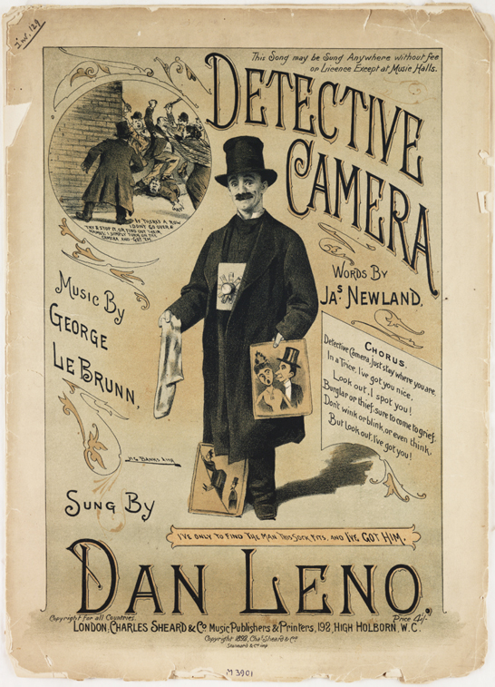 Sheet music for 'Detective Camera' as sung by Dan Leno, 1892, HG Banks © National Media Museum, Bradford / SSPL, Creative Commons BY-NC-SA