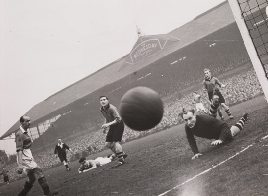 A shot heads for the camera, Manchester United vs Sheffield Wednesday, 1949, Bert Abell © Daily Herald / National Media Museum, Bradford / SSPL