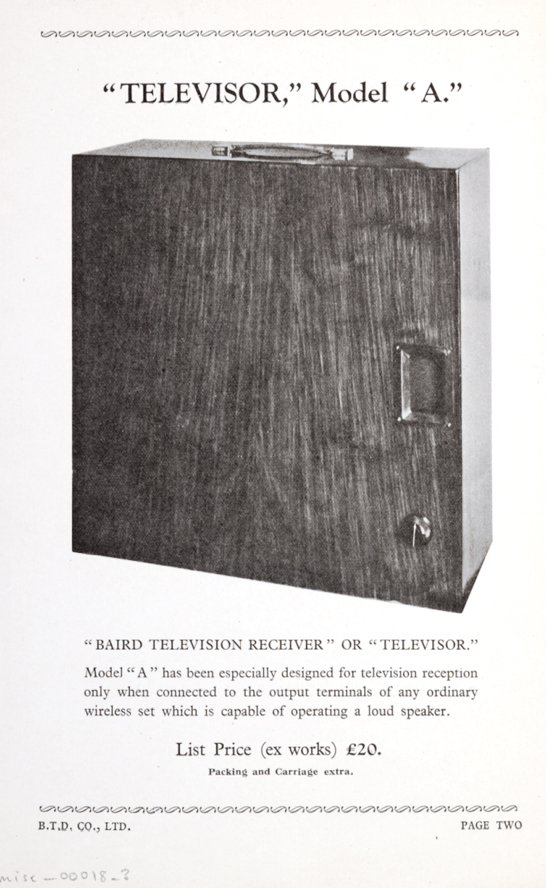 A page from an original 1928 Baird Television Development Company catalogue featuring the Model 'A' Televisor, National Media Museum Collection