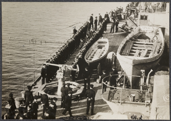 Sailors lined up on deck of battleship, c. 1915, unknown photographer © National Media Museum, Bradford / SSPL. Creative Commons BY-NC-SA