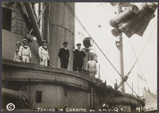 Taking in cordite on HMS Queen Elizabeth, c. 1915, unknown photographer © National Media Museum, Bradford / SSPL. Creative Commons BY-NC-SA