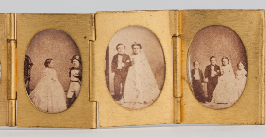 Portraits of Tom Thumb and Lavinia Warren from a gilt locket containing 12 albumen prints, c. 1864, The Royal Photographic Society Collection © National Media Museum, Bradford / SSPL. Creative Commons BY-NC-SA