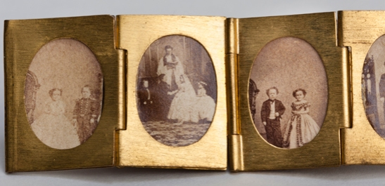 Portraits of Tom Thumb and Lavinia Warren from a gilt locket containing 12 albumen prints, c. 1864, The Royal Photographic Society Collection © National Media Museum, Bradford / SSPL