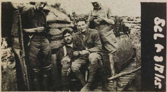 Snapshot of British soldiers in a trench in the First World War, most likely taken with a Vest Pocket Kodak, 1915, The Royal Photographic Society Collection © National Media Museum, Bradford / SSPL. Creative Commons BY-NC-SA