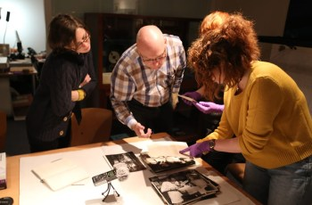 From left to right: Fiona, Paul Goodman, Gemma Angel and Niamh O'Donnell in Insight: Collections and Research Centre, National Media Museum, Bradford